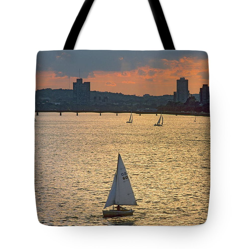 Tranquility Tote Bag featuring the photograph Charles River, Boston by Franz Marc Frei