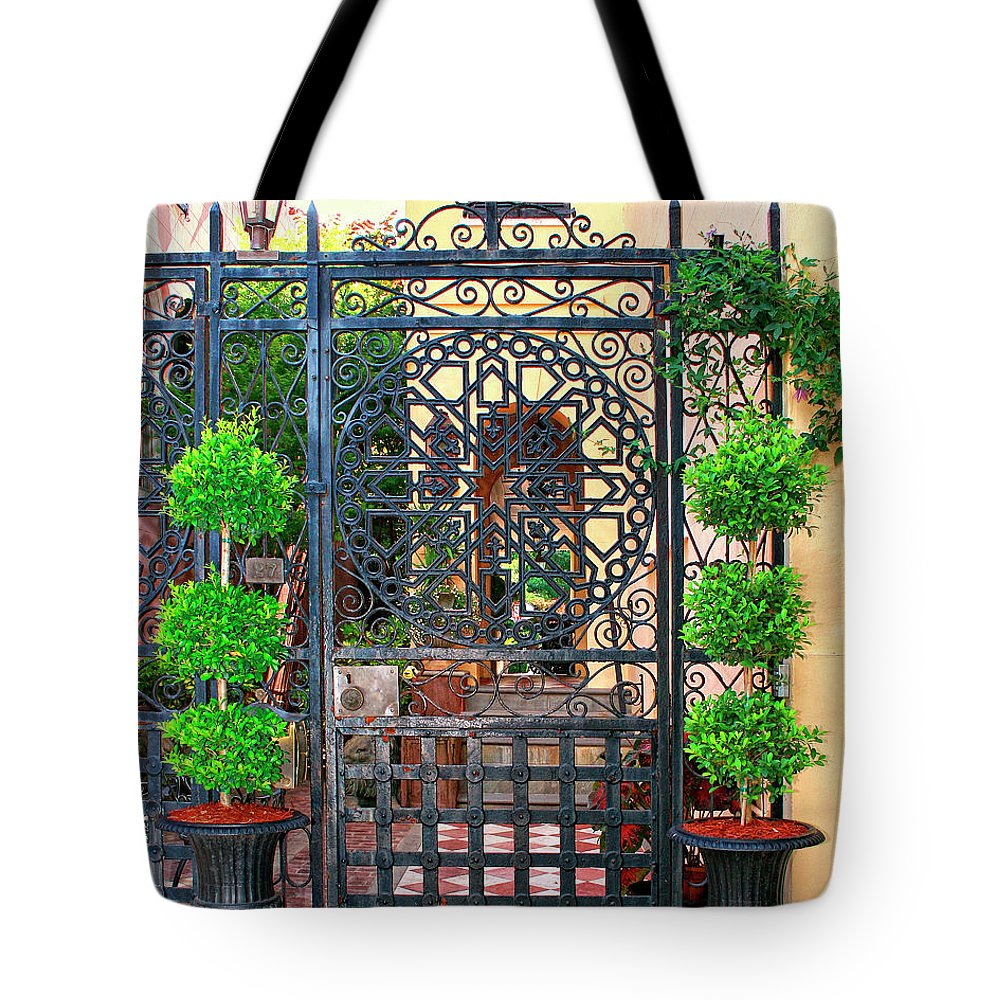 Charleston Tote Bag featuring the photograph Charleston Gate Charleston Sc by William Dey