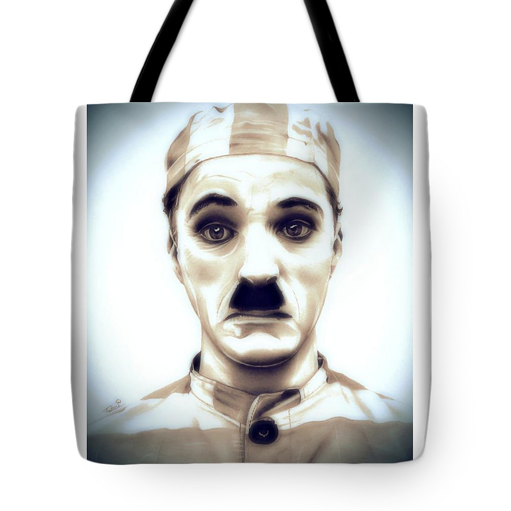 Chaplin Tote Bag featuring the drawing Charlie Chaplin Adventurer by Fred Larucci