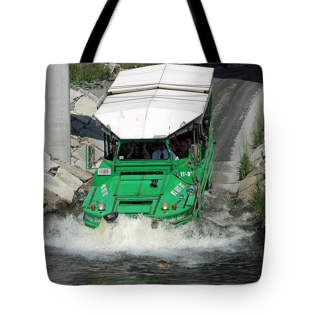 duck Boat Tote Bag featuring the photograph Charlie River Splash Down by Barbara McDevitt