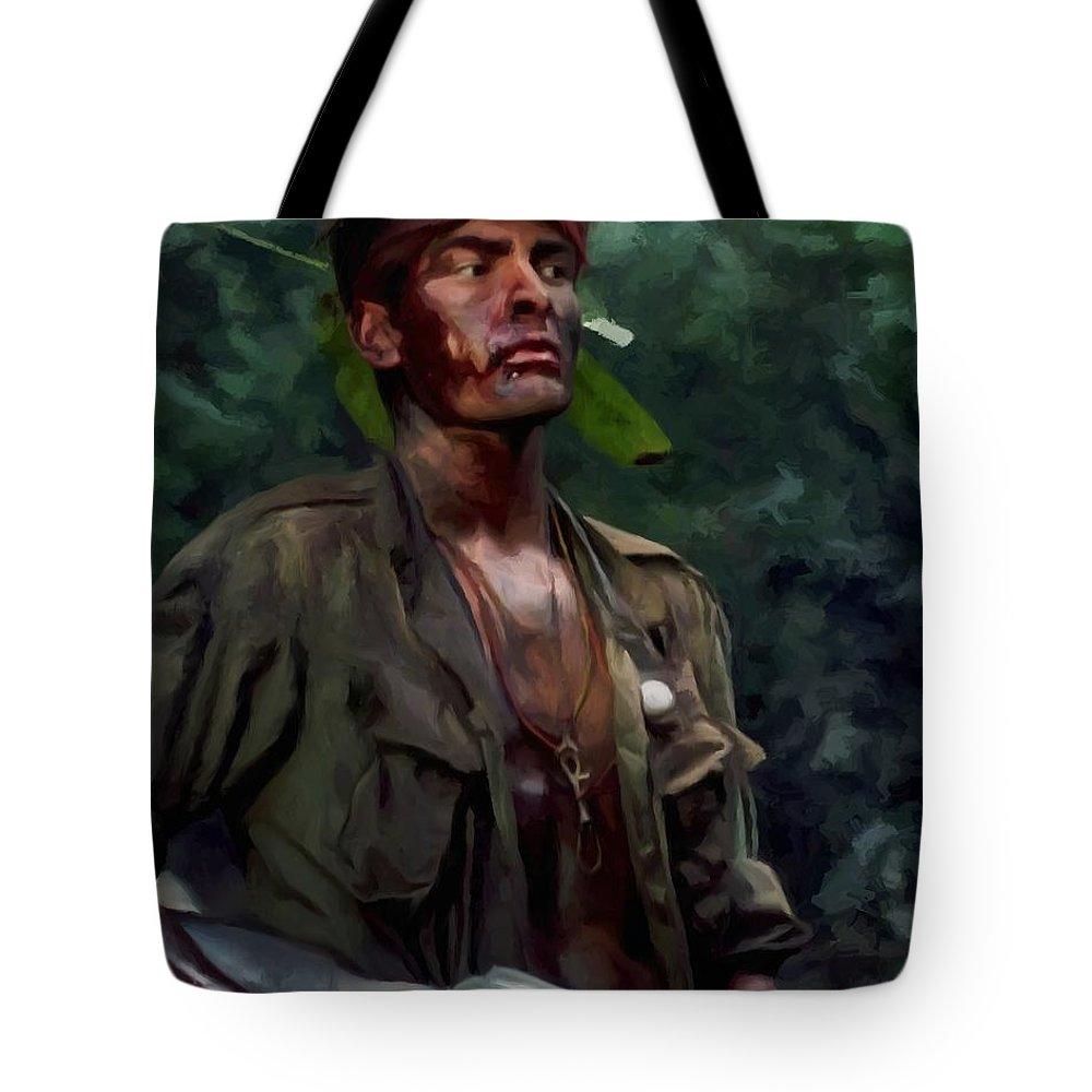 Platoon Tote Bag featuring the digital art Charlie Sheen in Platoon by Gabriel T Toro