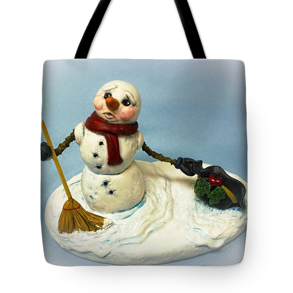 Snowman Tote Bag featuring the photograph Charlie's Hat Snowman by Melissa Bittinger