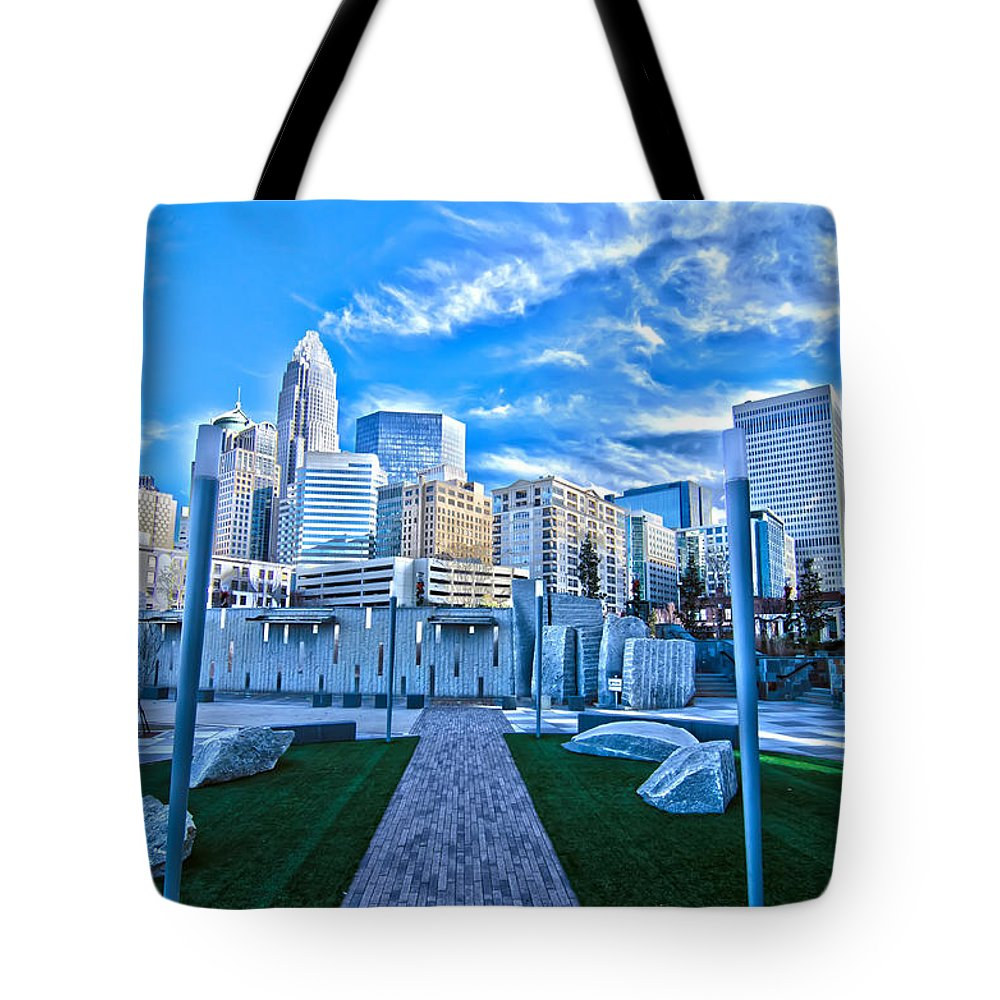 Blue Tote Bag featuring the photograph Charlotte Nc Usa - Charlotte Skyline by Alex Grichenko