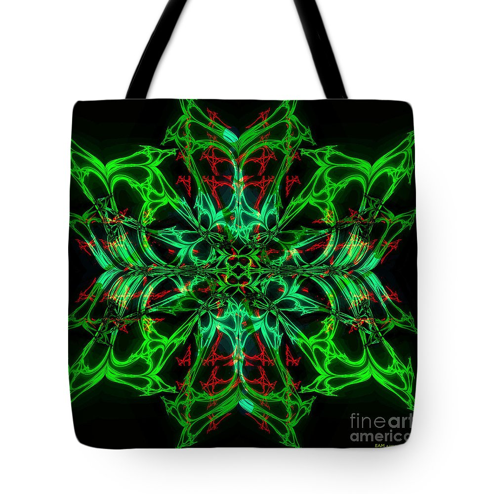 Fractal Art Tote Bag featuring the digital art Charlotte's New Freakin' Awesome Neon Web by Elizabeth McTaggart