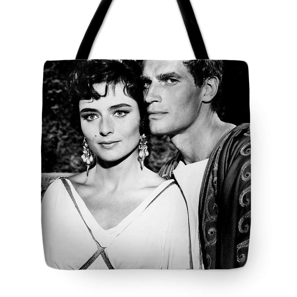 Charlton Heston Tote Bag featuring the photograph Charlton Heston And Marina Berti by Mountain Dreams