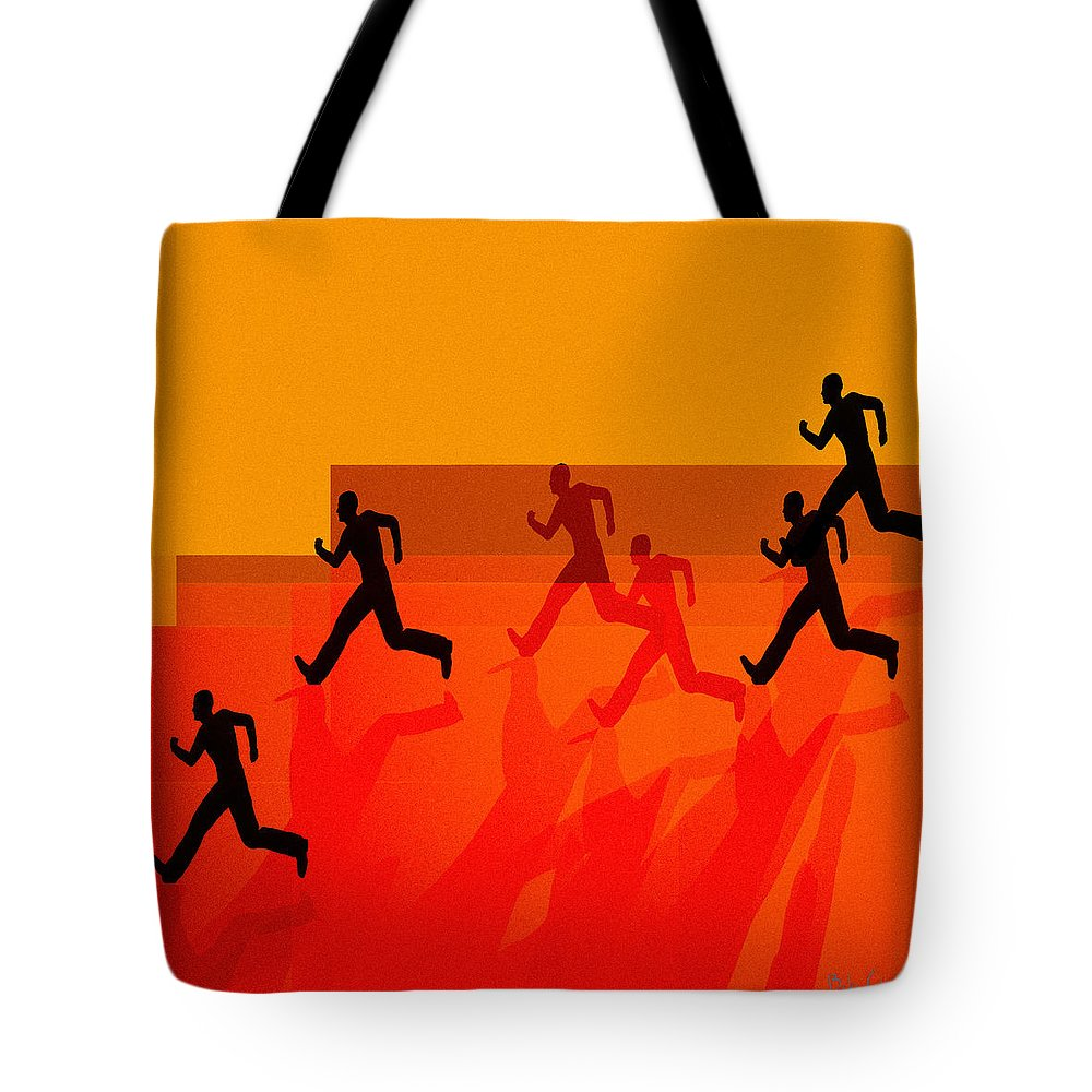 Abstract Tote Bag featuring the painting Chasing Shadows by Bob Orsillo
