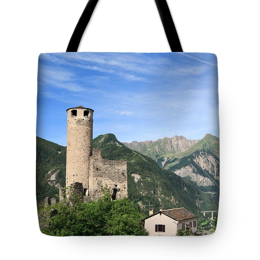 Alps Tote Bag featuring the photograph Chatelard Castle by Antonio Scarpi