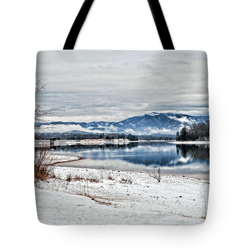 Kenny Francis Tote Bag featuring the photograph Chatuge Dam Winter Vista by Kenny Francis