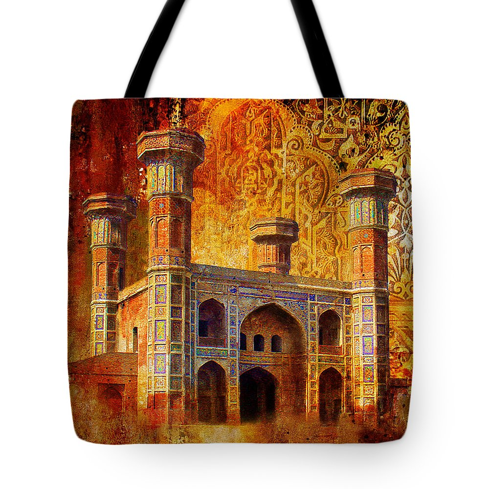 Pakistan Tote Bag featuring the painting Chauburji Gate by Catf