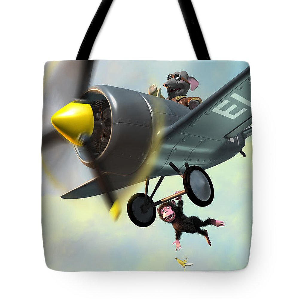 Plane Tote Bag featuring the painting Cheeky Monkey Hanging From Plane by Martin Davey