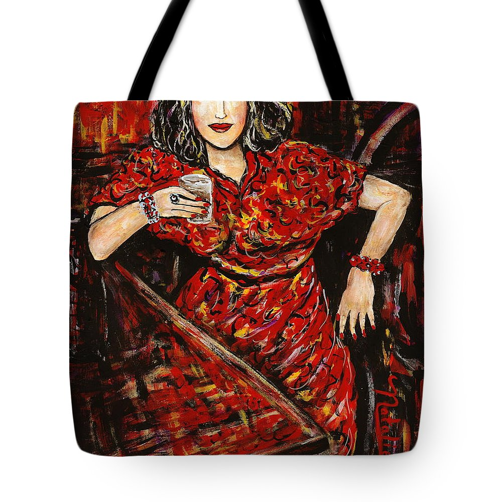 Woman Tote Bag featuring the painting Cheers by Natalie Holland