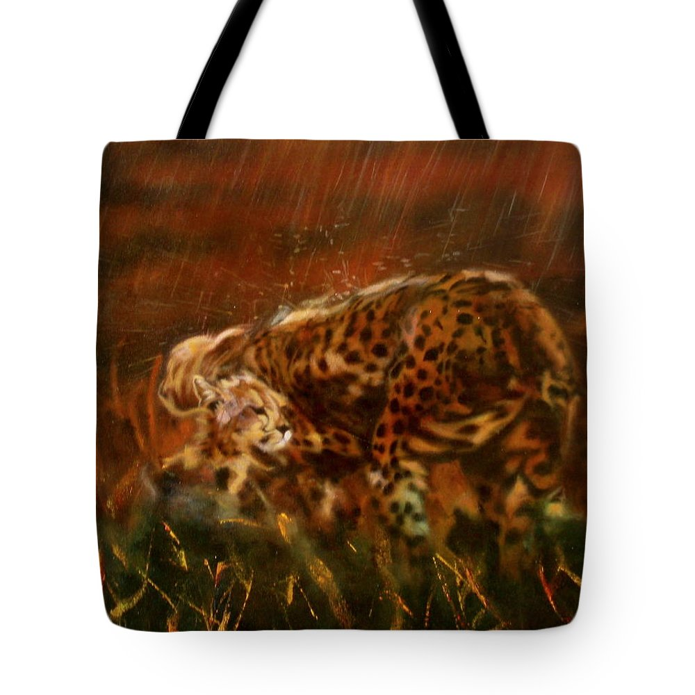 Rain;water;cats;africa;wildlife;animals;mother;shelter;brush;bush Tote Bag featuring the painting Cheetah Family After The Rains by Sean Connolly
