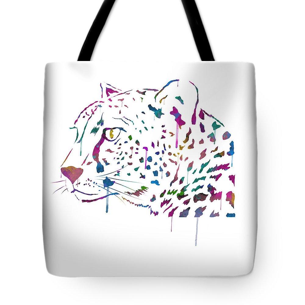 Cheetah Tote Bag featuring the digital art Cheetah Watercolor - White by Becca Buecher