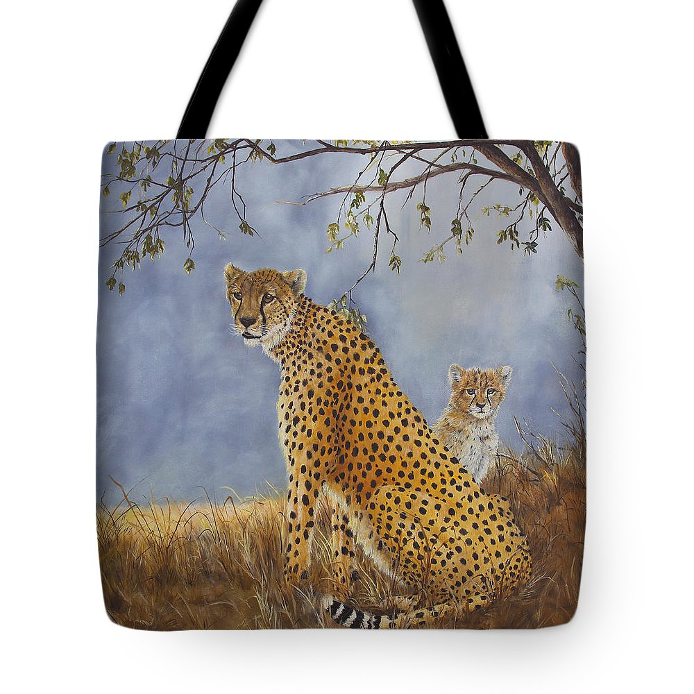 Wildlife Tote Bag featuring the painting Cheetah With Cub by Johanna Lerwick