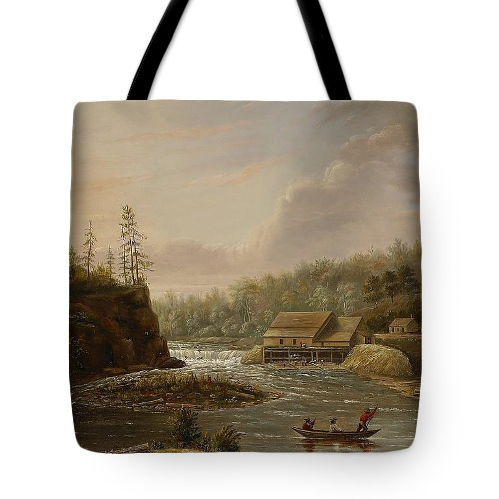 Cheever's Mill; St. Croix River; Landscape; Minnesota; Mill; Building; Industry; Industrial; Industrialisation; Boat; Figures; Houses; Buildings; Exterior; Flowing; Water; Trees; Woodland; Logging; Timber; America; American; Usa; Settlers; Settlement; Hudson River School; Wood Tote Bag featuring the painting Cheevers Mill On The St. Croix River by Henry Lewis