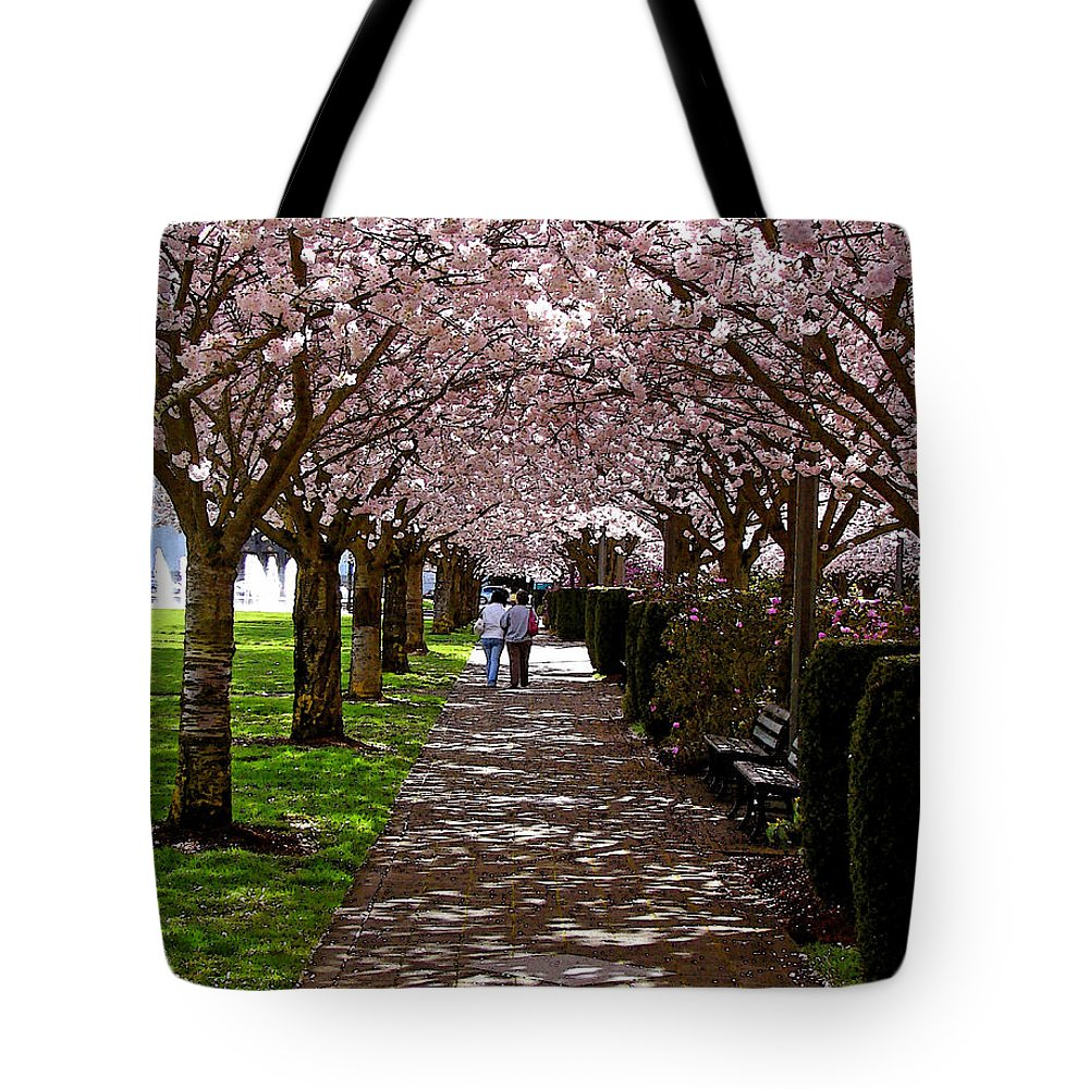 Cherry Trees Tote Bag featuring the digital art Cherry Blossom Friends by Gary Olsen-Hasek