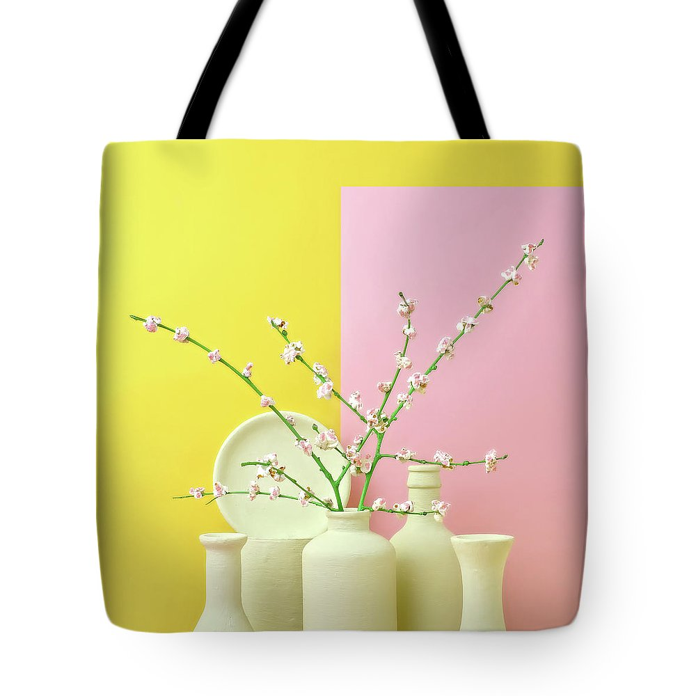 Out Of Context Tote Bag featuring the photograph Cherry Blossom Popcorn In Monochromatic by Juj Winn