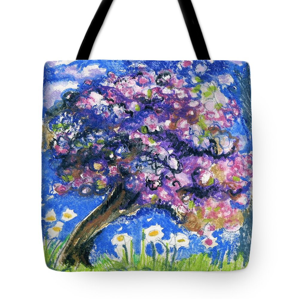 Cherry Blossom Tote Bag featuring the pastel Cherry Blossom Spring. by Wendy Le Ber