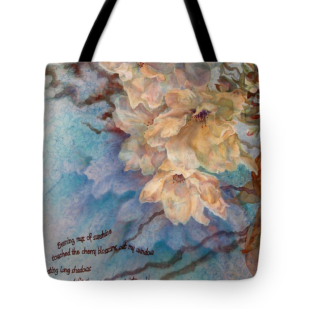 Flower Tote Bag featuring the painting Cherry Blossoms N Lace by Deborah Younglao