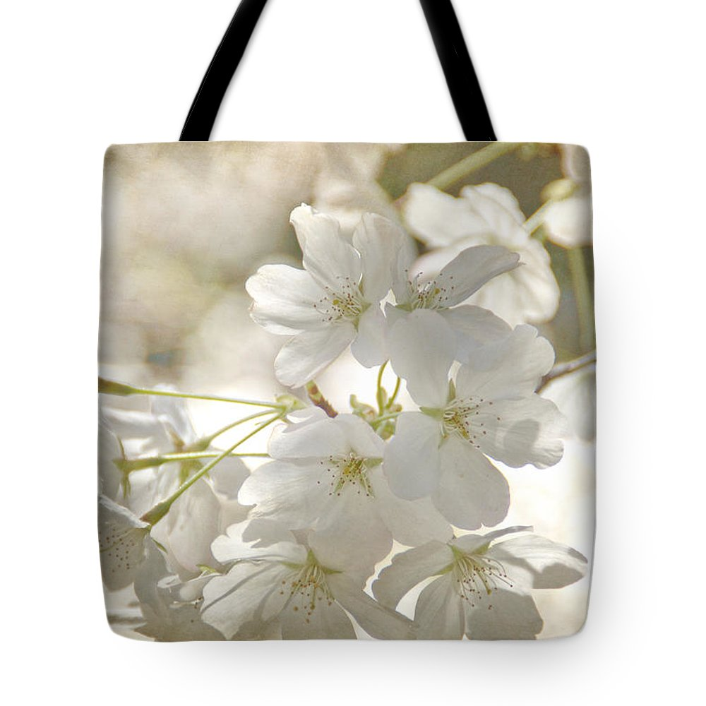 Flowers Tote Bag featuring the photograph Cherry Blossoms by Peggy Hughes