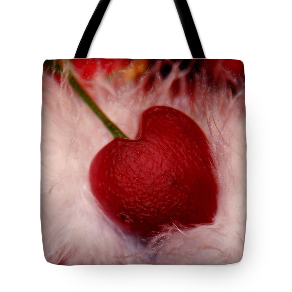 Heart Artred Cherry Heart Tote Bag featuring the photograph Cherry Heart by Linda Sannuti