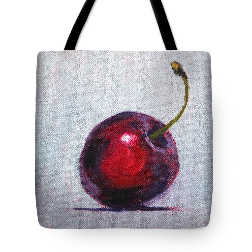 Cherry Tote Bag featuring the painting Cherry by Nancy Merkle