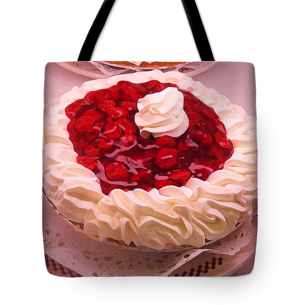 Still Life Tote Bag featuring the painting Cherry Pie With Whip Cream by Amy Vangsgard