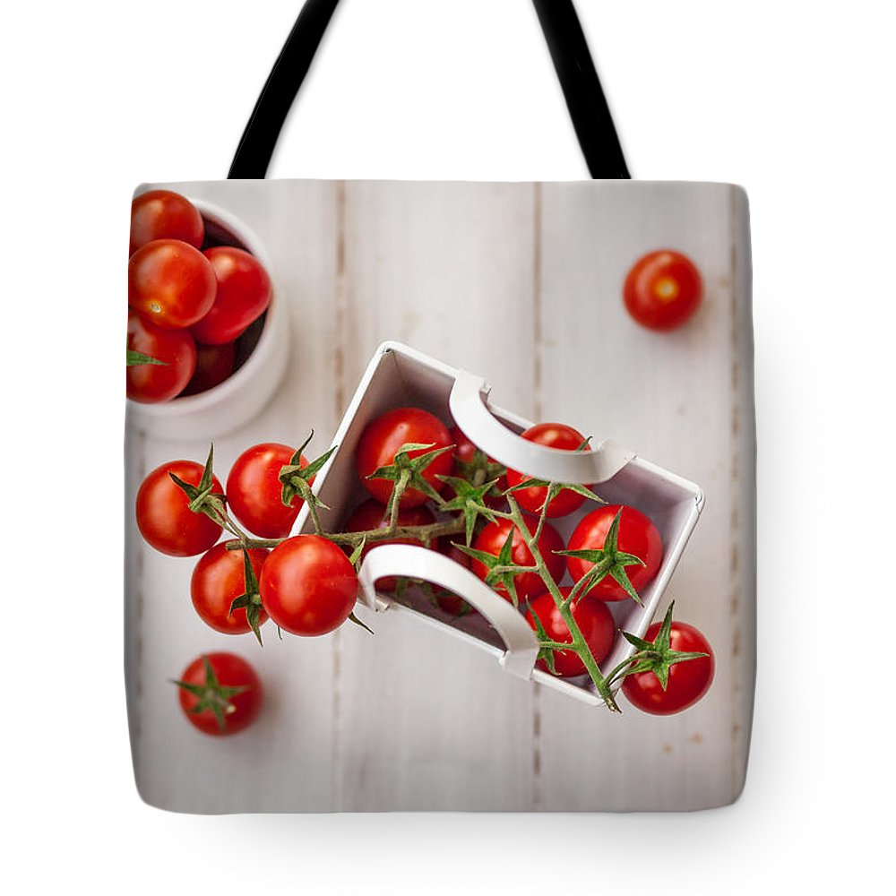 Cherry Tote Bag featuring the photograph Cherry Tomatoes by Desislava Panteva