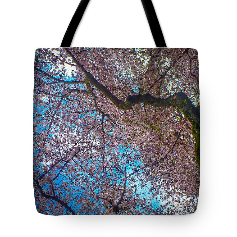 Seattle Tote Bag featuring the photograph Cherry Tree by Roger Mullenhour