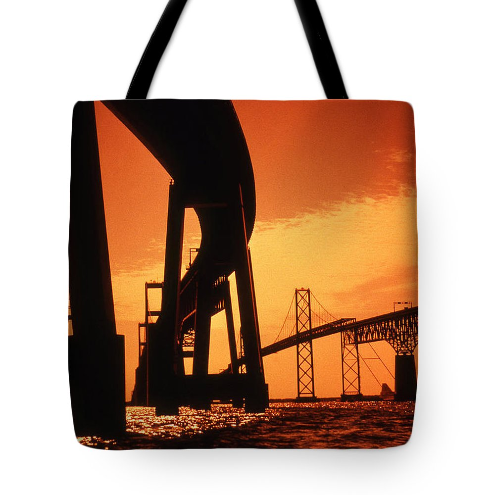 Bay Tote Bag featuring the photograph Chesapeake Bay Bridge by Skip Willits