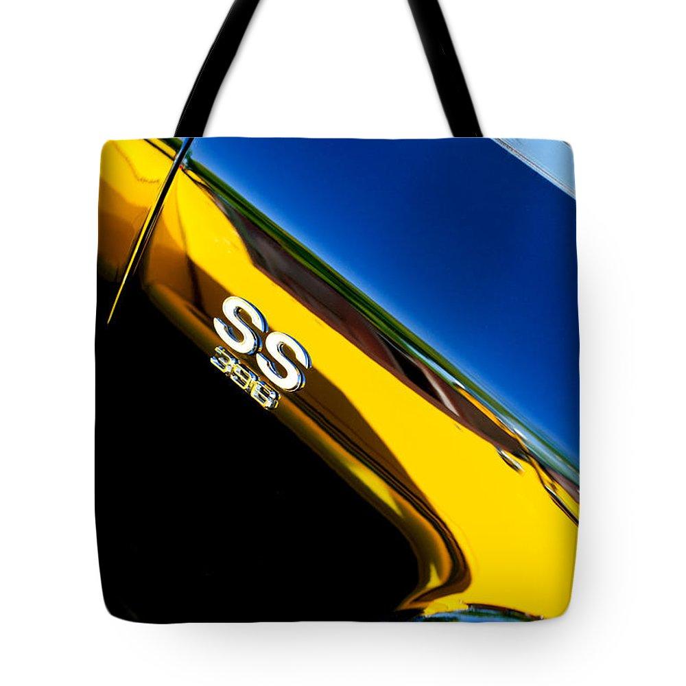Chevrolet Chevelle Ss 396 Side Emblem Tote Bag featuring the photograph Chevrolet Chevelle Ss 396 Side Emblem by Jill Reger