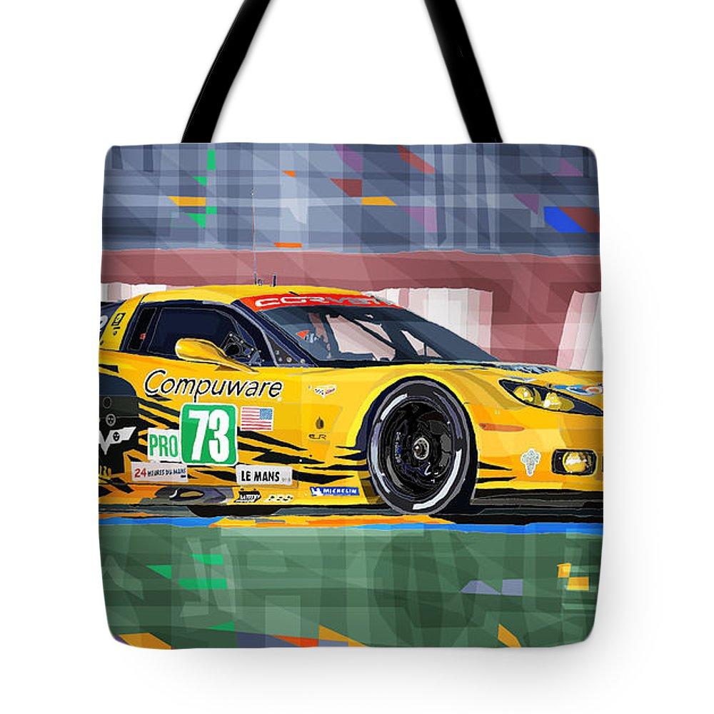 Automotive Tote Bag featuring the digital art Chevrolet Corvette C6r Gte Pro Le Mans 24 2012 by Yuriy Shevchuk