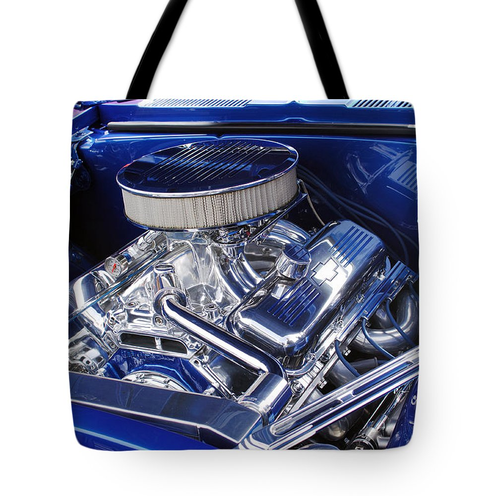 Chevrolet Tote Bag featuring the photograph Chevrolet Hotrod Engine by Jill Reger