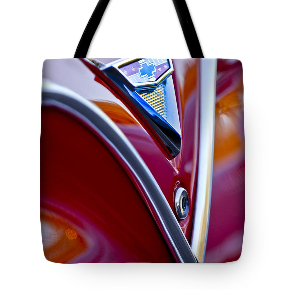 Chevrolet Impala Tote Bag featuring the photograph Chevrolet Impala Emblem 4 by Jill Reger