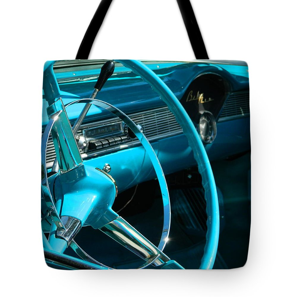 Bel Air Tote Bag featuring the photograph Chevy Bel Air Interior II by Nicki Bennett