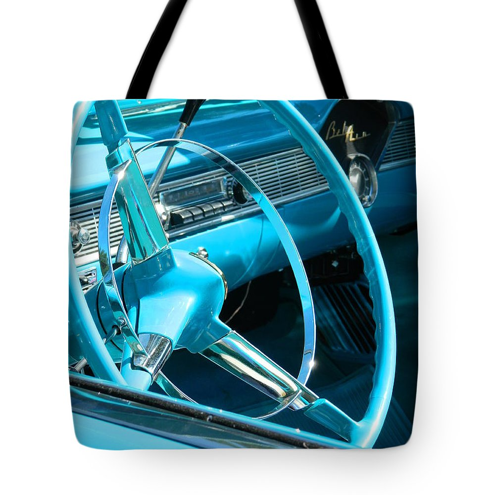 Bel Air Tote Bag featuring the photograph Chevy Bel Air Interior by Nicki Bennett