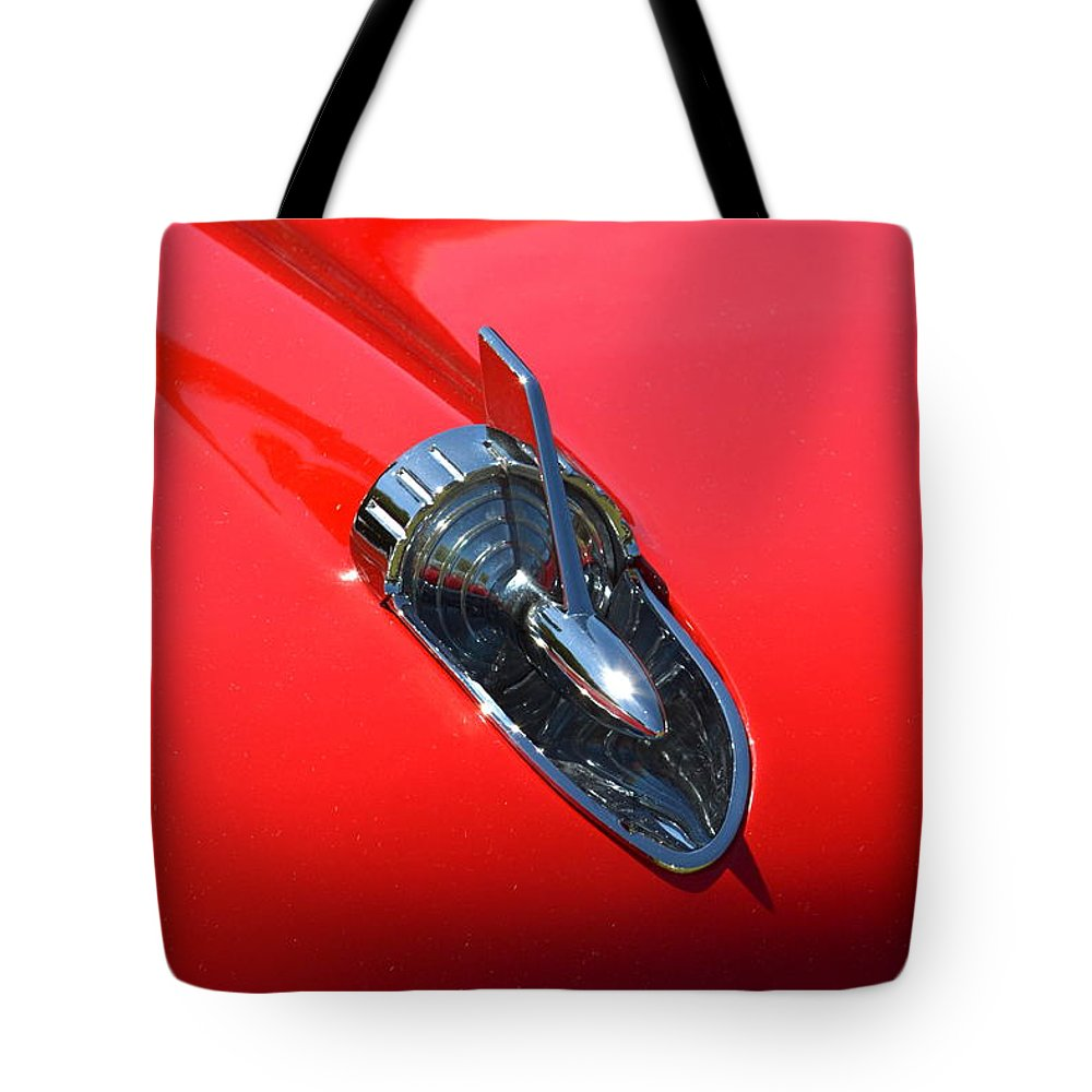 Red Tote Bag featuring the photograph Chevy Hood by Dean Ferreira