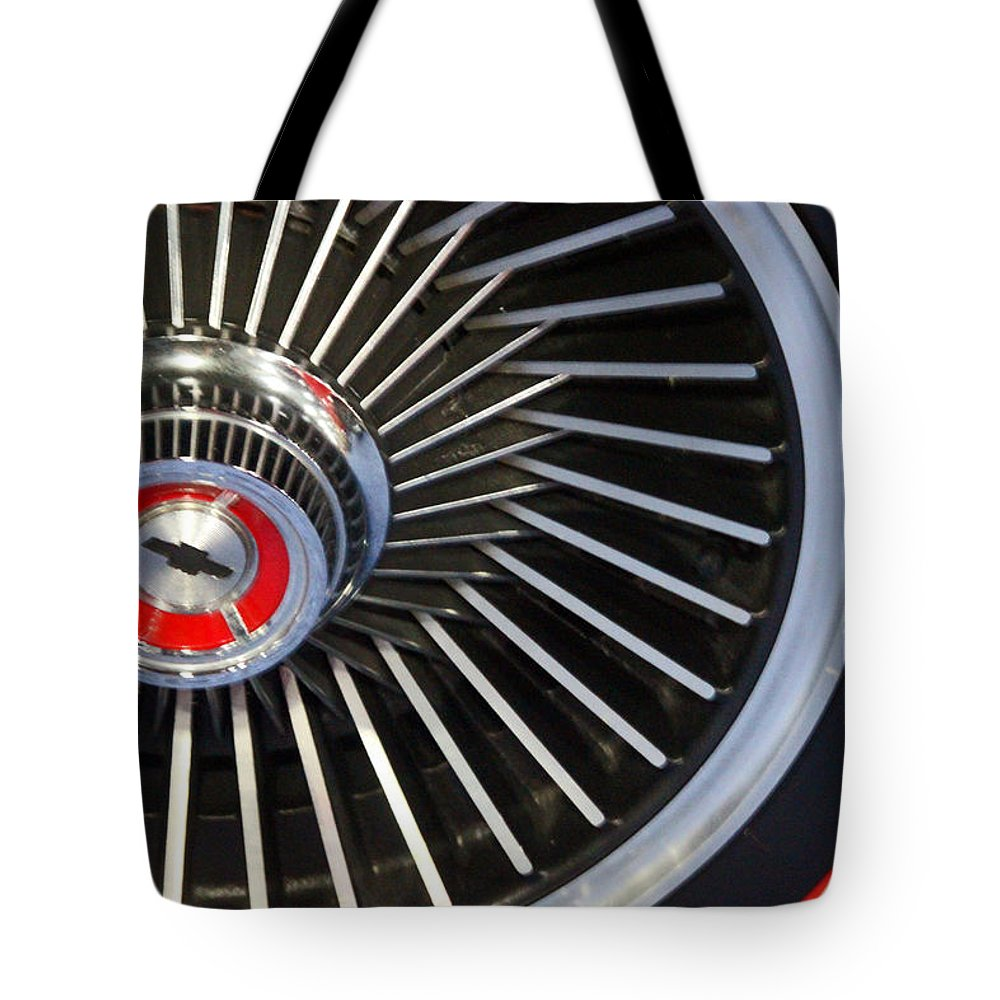 Car Tote Bag featuring the photograph Chevy Wheel by Carolyn Stagger Cokley