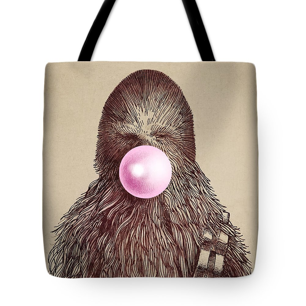 Bubblegum Tote Bag featuring the drawing Big Chew by Eric Fan