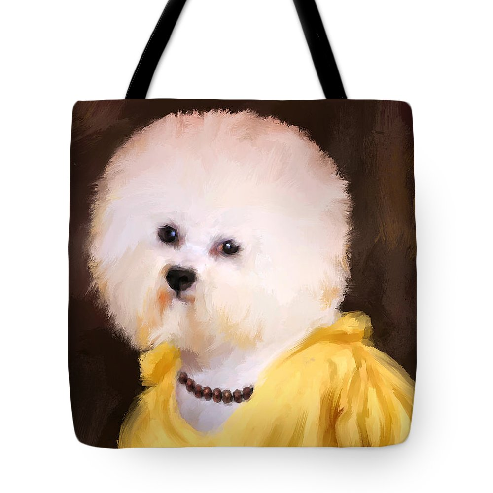 Bichon Tote Bag featuring the painting Chic Bichon Frise by Jai Johnson