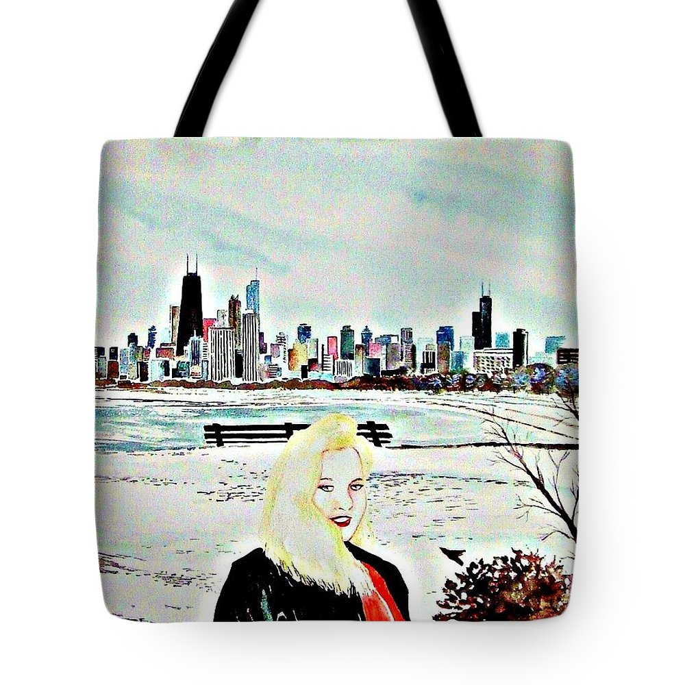 Chicago Woman Snow Illinois Travel America Cityscape Skyline Buildings Tote Bag featuring the painting Chicago 2008 by Ken Higgins