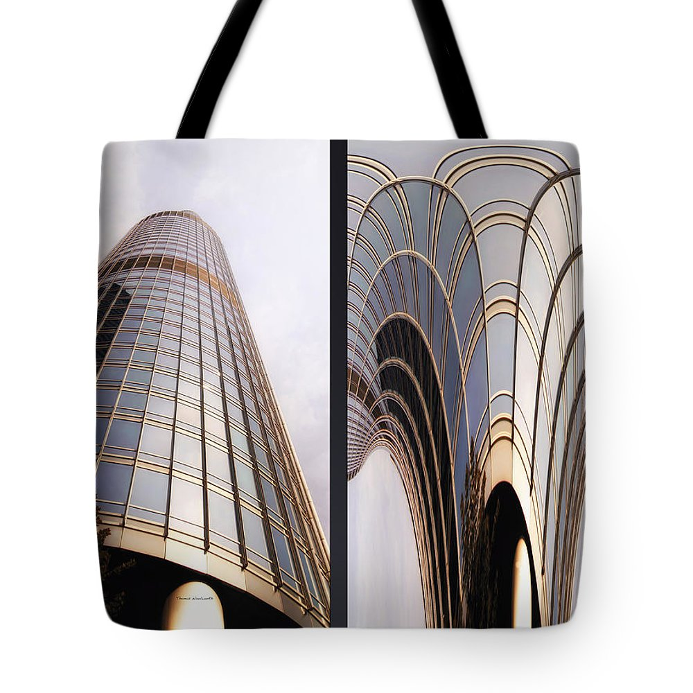 Chicago Tote Bag featuring the photograph Chicago Abstract Before And After Sunrays On Trump Tower 2 Panel by Thomas Woolworth