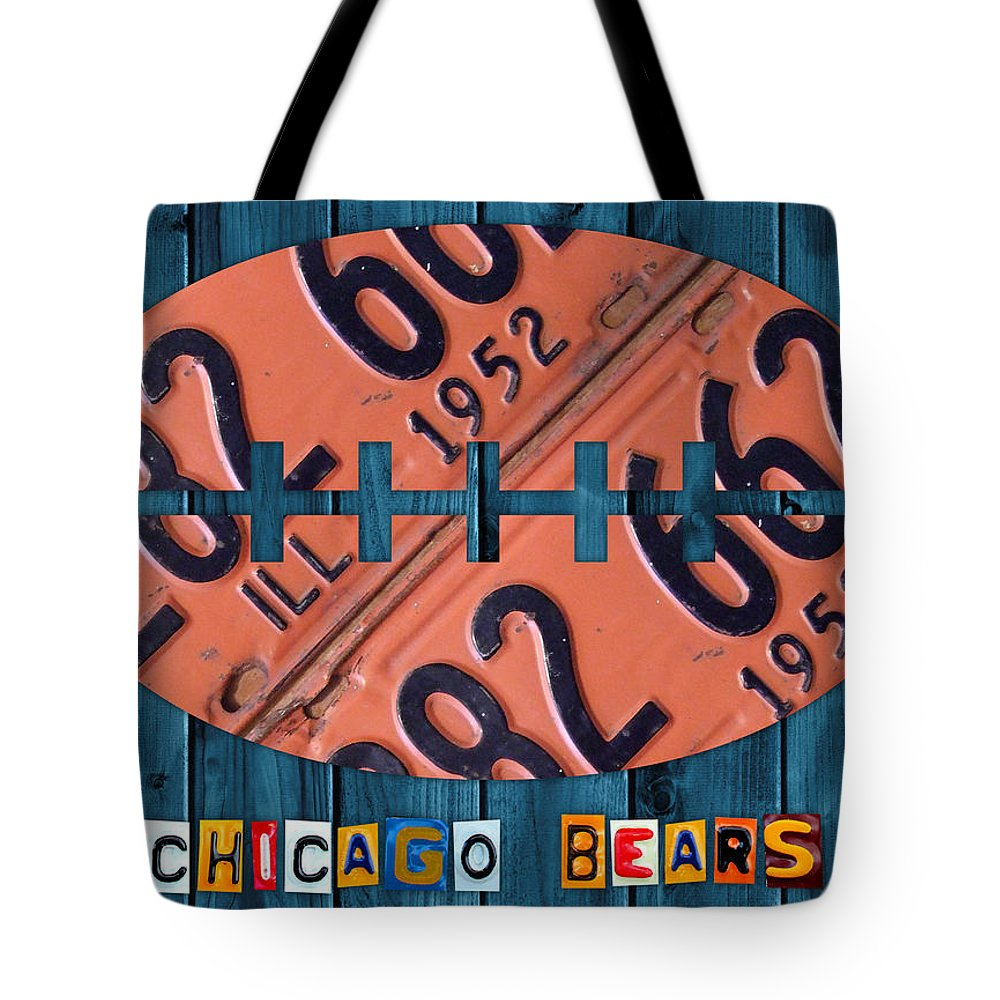 Chicago Tote Bag featuring the mixed media Chicago Bears Football Recycled License Plate Art by Design Turnpike