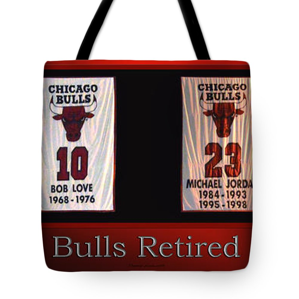 new style d1750 c2d69 Chicago Bulls Retired Jerseys Banners Tote Bag