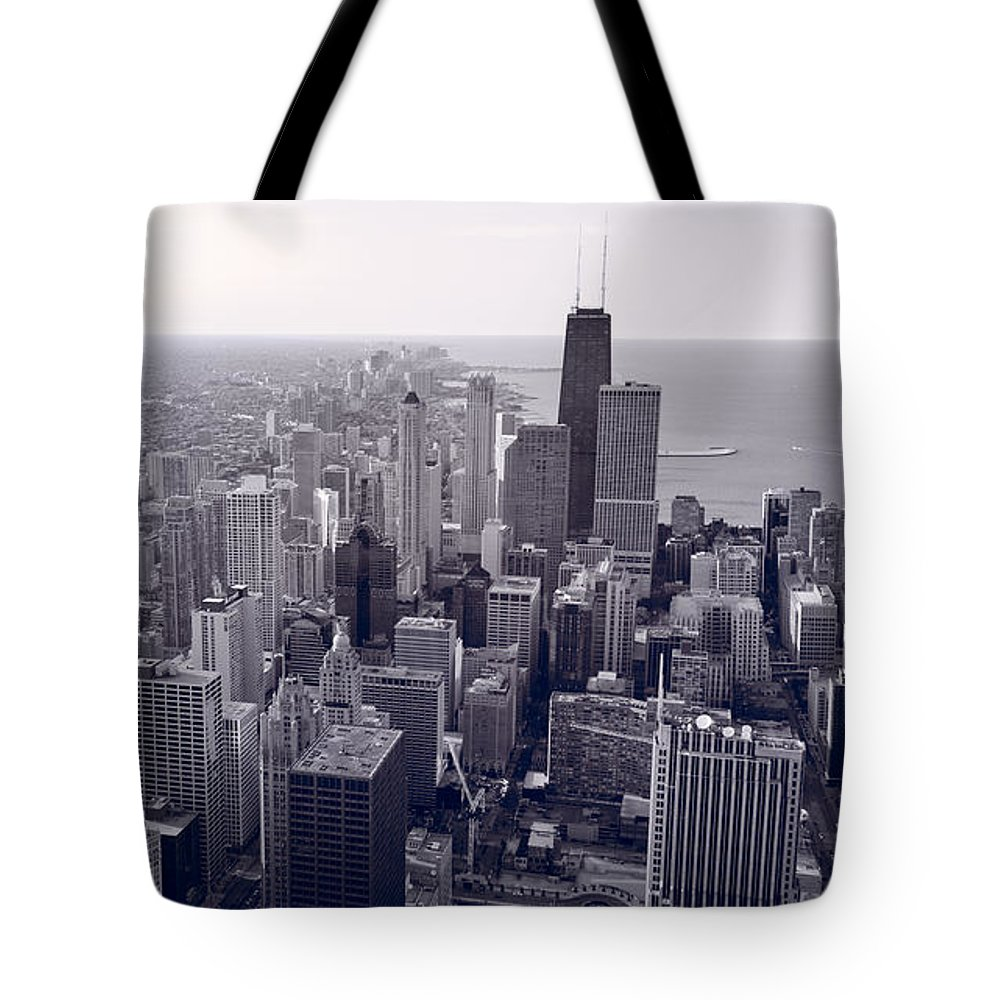 Aerial Tote Bag featuring the photograph Chicago Bw by Steve Gadomski