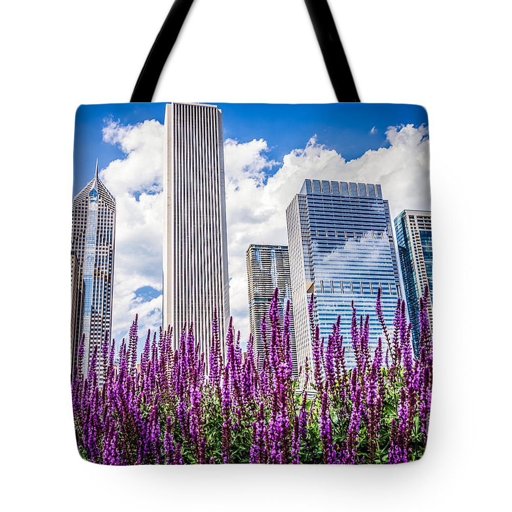 2012 Tote Bag featuring the photograph Chicago Downtown Buildings And Spring Flowers by Paul Velgos