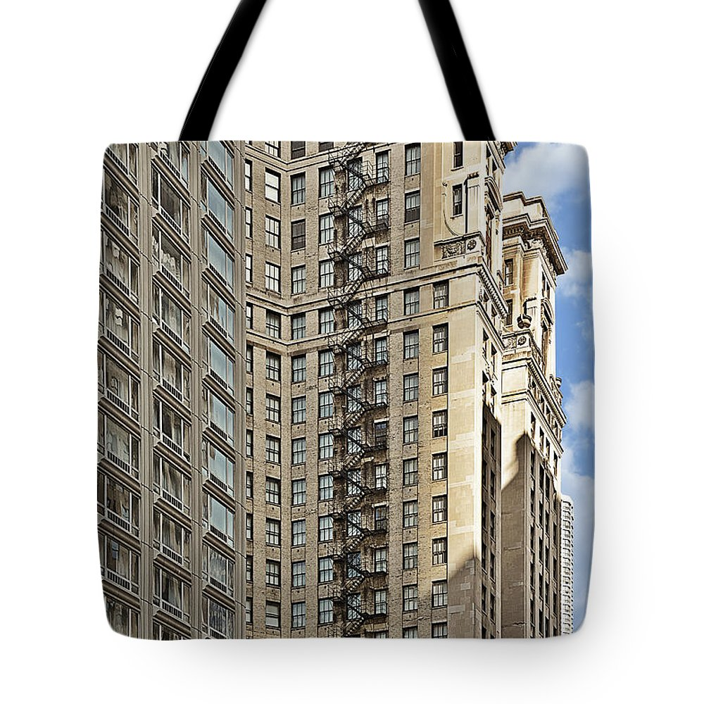 Chicago Tote Bag featuring the photograph Chicago - Emergency Fire Escape by Christine Till