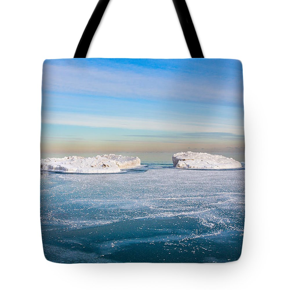 Blue Ice Tote Bag featuring the photograph Chicago Ice Caps by Josh Baker