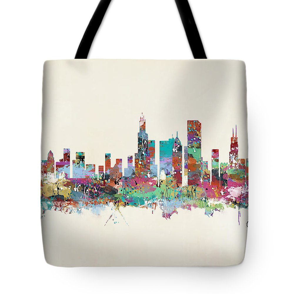 Chicago City Skyline Tote Bag featuring the painting Chicago Illinois Skyline by Bri Buckley