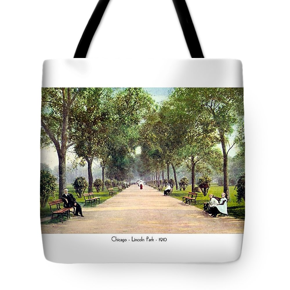Detroit Tote Bag featuring the digital art Chicago - Lincoln Park - 1910 by John Madison